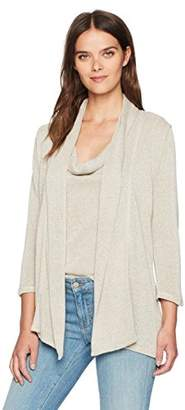 Three Dots Women's [Shimmer Knit] [Loose] + [Mid] + [Cardigan]