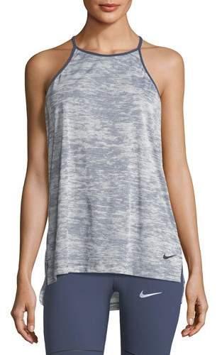 Nike Breathe T-Back Loose Training Performance Tank, Blue-Black