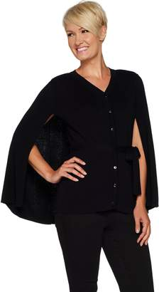 Joan Rivers Classics Collection Joan Rivers Sweater Knit Button Front Cape with Belt