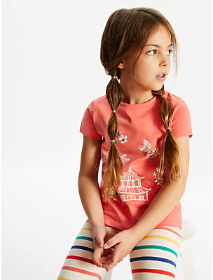 John Lewis & Partners Girls' Pagoda Print T-Shirt, Pink