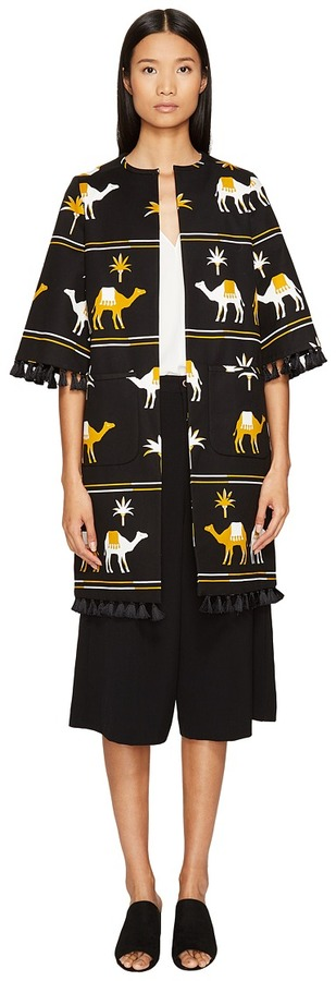 Kate Spade Kate Spade New York - Spice Things Up Embroidered Camel Coat Women's Coat