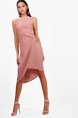 boohoo Joyce Slinky Knot Detail Wrap Midi Dress