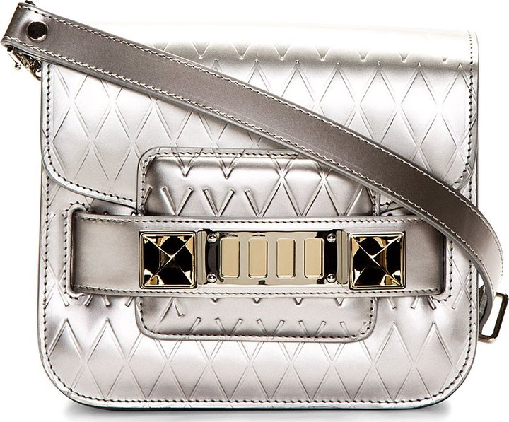 Proenza Schouler Silver Embossed Patent Leather PS11 Classic Tiny Shoulder Bag