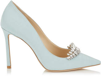 Jimmy Choo ROMY 100 Something Blue Moire Fabric Pointy Toe Pumps with Crystal Tiara