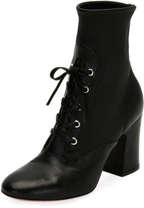 Gianvito Rossi Palmer Stretch Napa Lace-Up Bootie, Black