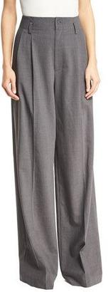 MICHAEL Michael Kors High-Rise Wide-Leg Pleated Wool-Blend Pants, Derby $225 thestylecure.com