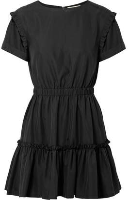 Alice + Olivia Garner Ruffle-trimmed Modal-blend Mini Dress - Black
