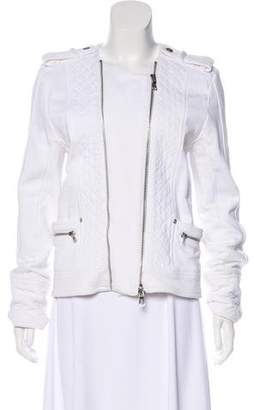 Pierre Balmain Quilt-Accented Collarless Jacket