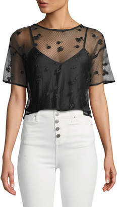 Josie Natori Short-Sleeve Embroidered Mesh Top with Cami