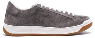 Burberry Timsbury Perforated Logo Low Top Suede Trainers - Mens - Grey
