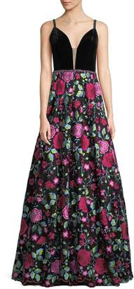 Jovani Velvet-Bodice Floral Embroidered Gown
