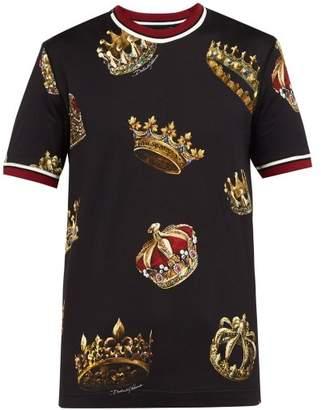 Dolce & Gabbana Crown Printed Cotton T Shirt - Mens - Black Multi