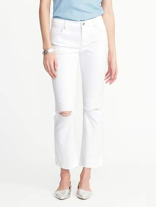 Old Navy Cropped White Flare Ankle Jeans for Women