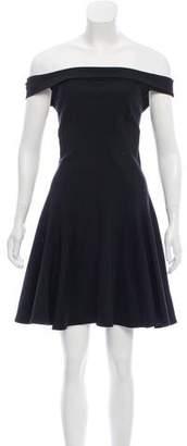 Halston Off-The-Shoulder Flare Dress