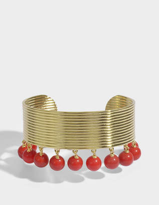 Aurelie Bidermann Ana Cuff in Coral Colored Pearls and 18K Gold-Plated Brass