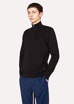Paul Smith Men's Black Funnel Neck Cotton-Jersey Half-Zip Sweater