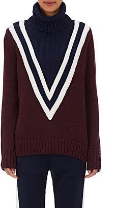 Tory Sport Women's V-Pattern Merino Wool-Blend Turtleneck Sweater $295 thestylecure.com