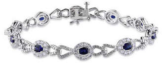 JCPenney FINE JEWELRY 1/10 CT. T.W. Sterling Silver White & Color-Enchanced Blue Diamond Crossover Bracelet