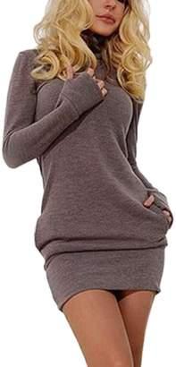 Zilcremo Women Elegant Long Sleeve High Neck Slim Bodycon Shirt Mini Party Dress S