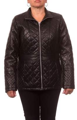 Unbranded Women's Plus Size Faux Leather Diamond Quilted Zip-Front Jacket