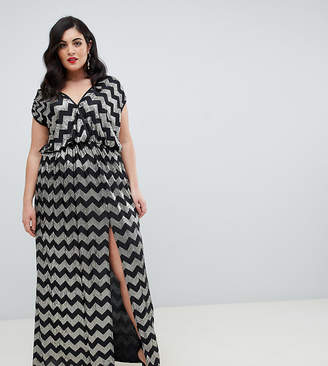 Flounce London Plus maxi dress with split in zig zag pattern