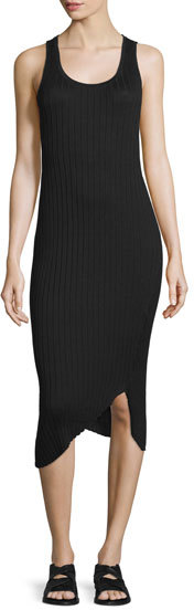 Rag & Bone Sleeveless Ribbed Midi Dress, Black