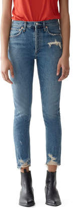 A Gold E AGOLDE Jamie High-Rise Distressed Skinny Jeans with Chewed Hem