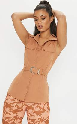 PrettyLittleThing Tan Sleeveless Belted Button Front Shirt