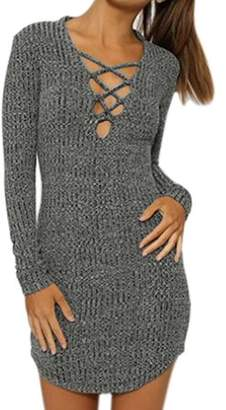 Unique Bargains Women Deep V Neck Decorative Lacing Ribbed Mini Bodycon Dress Gray S