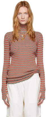 Paco Rabanne Red and Grey Striped Turtleneck