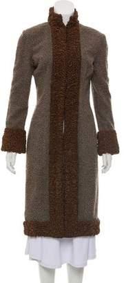Naeem Khan Persian Lamb-Trimmed Tweed Coat