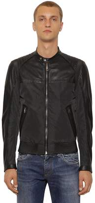 Dolce & Gabbana Nylon & Nappa Leather Biker Jacket