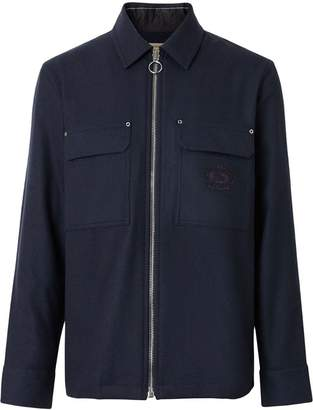Burberry Embroidered Crest Wool Overshirt