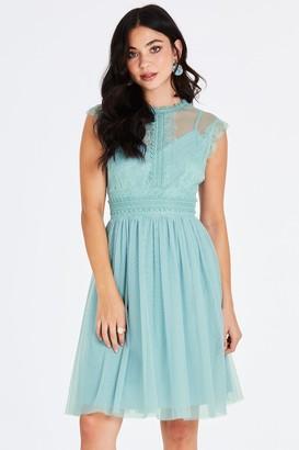 5569513f31 Little Mistress Monet Sage Lace Trim Prom Dress