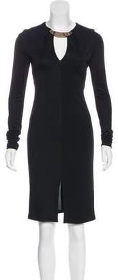 Halston Long Sleeve Knee-Length Dress