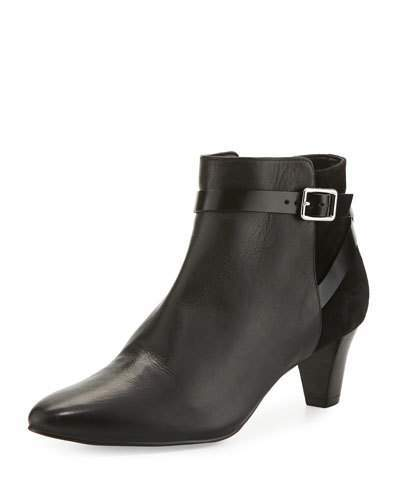 Cole Haan  Cole Haan Sylvan Grand.OS Leather & Suede Ankle-Strap Bootie, Black