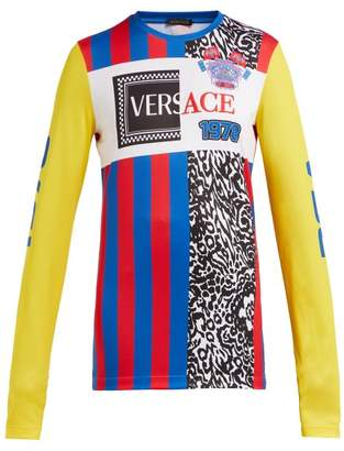 Versace Panelled Logo Football T Shirt - Womens - Multi