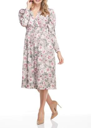 Gal Meets Glam Floral Print V-Neck Midi Dress