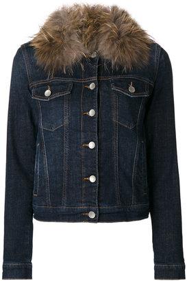 Twin-Set fur collar denim jacket $478.98 thestylecure.com