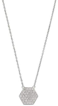 Bony Levy 18K White Gold Pave Diamond Hexagon Pendant Necklace