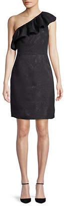 Halston H Jacquard Ruffle One-Shoulder Sheath Dress