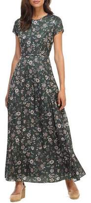 Gal Meets Glam Fan Floral Printed Charmeuse Short-Sleeve Maxi Dress