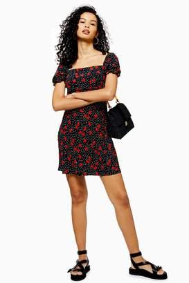 Topshop Womens Palermo Rose Mini Square Neck Dress - Black