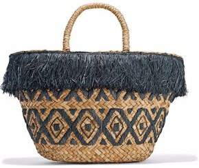 Kayu Lillian Fringed Embroidered Woven Straw Tote