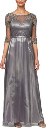 Alex Evening Illusion Bead Embellished Ball Gown