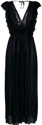 Fisico ruffle-trimmed long dress