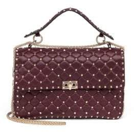 Valentino Rockstud Large Quilted Leather& Chain Top-Handle Bag