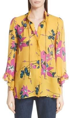 Etro Lily Print Tie Neck Silk Blouse