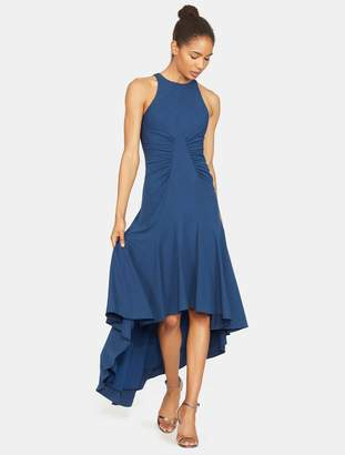 Halston Sleeveless High Neck Ruched Detail Hi Lo Gown