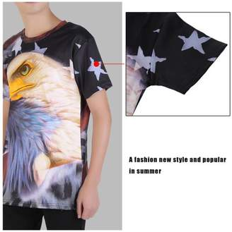 Feel American Style Animal Personality Men'S Casual Short Sleeve Summer O-Neck Shirts Comfortable Hip Hop T-Shirt